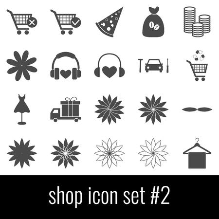 Shop Icon set 2; Gray icons on white background.
