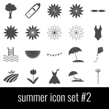 Summer. Icon set 2. Gray icons on white background.
