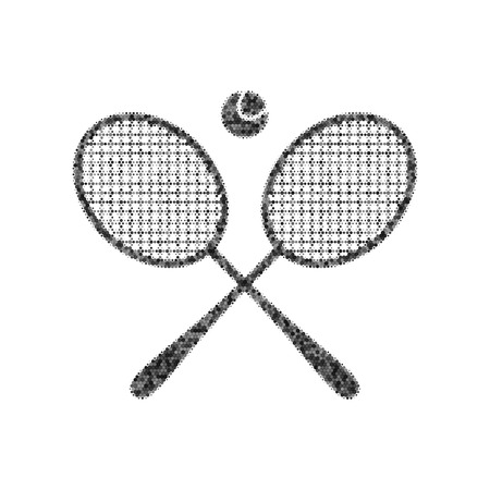 Two tennis racket with ball sign. Vector. Black icon from many ovelapping circles with random opacity on white background. Noisy. Isolated. Ilustração