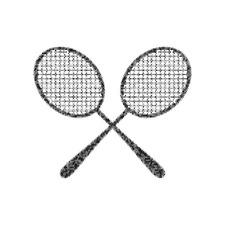 Two tennis racket sign. Vector. Black icon from many ovelapping circles with random opacity on white background. Noisy. Isolated.