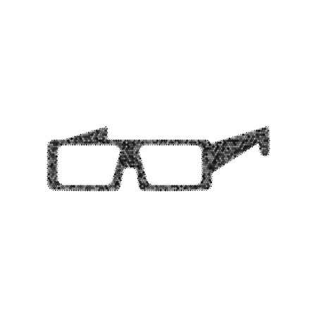 Modern glass sign. Black icon from many overlapping circles with random opacity on white background. Иллюстрация