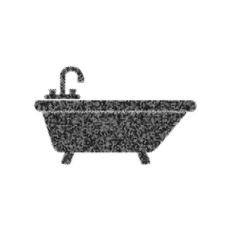 Bathtub sign illustration. Black icon from many overlapping circles with random opacity on white background.