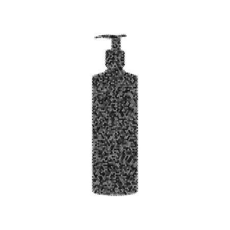 Gel, foam or liquid soap. Dispenser pump plastic bottle silhouette. Black icon from many overlapping circles with random opacity on white background.