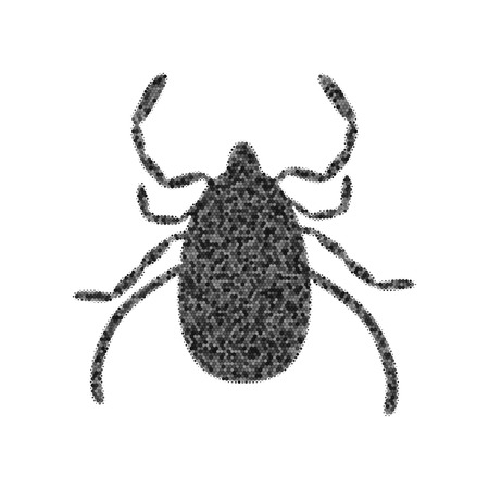 Dust mite sign illustration. Vector. Black icon from many ovelapping circles with random opacity on white background. Noisy. Isolated. Vettoriali