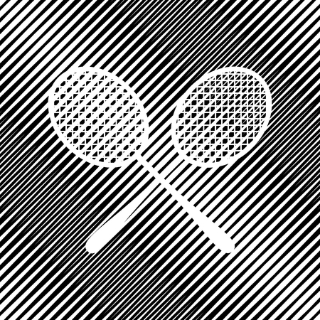 Two tennis racket sign. Vector. Icon. Hole in moire background.