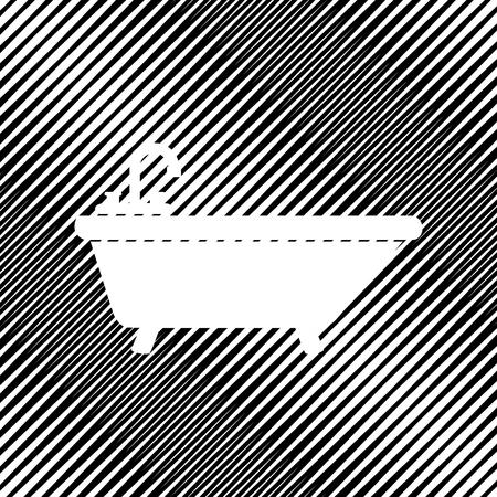 Bathtub sign illustration. Vector. Icon. Hole in moire backgroun Ilustração