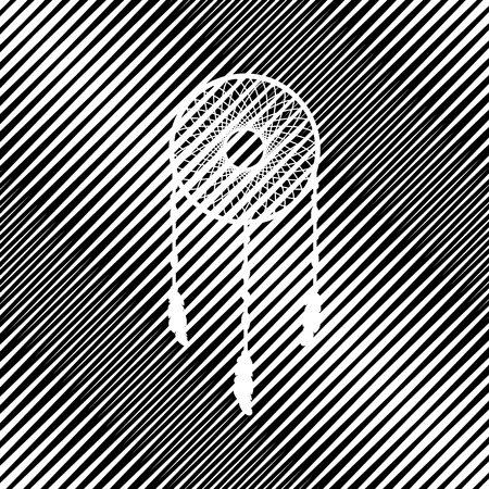 Dream catcher sign. Vector. Icon. Hole in moire background. Çizim