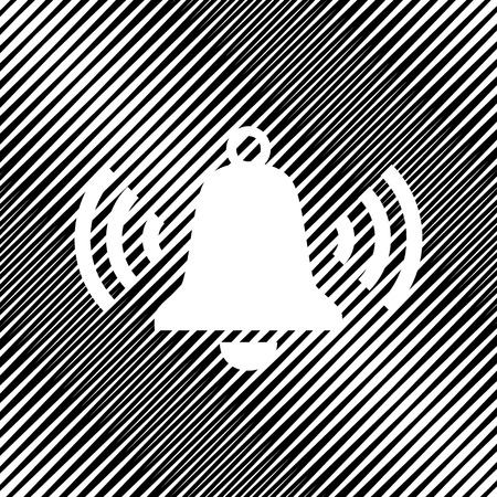 Ringing bell icon. Vector. Icon. Hole in moire background. Illustration