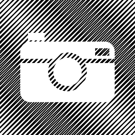 Digital photo camera sign. Vector. Icon. Hole in moire backgroun