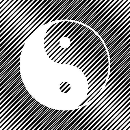 Ying yang symbol of harmony and balance. Vector. Icon. Hole in m Illustration