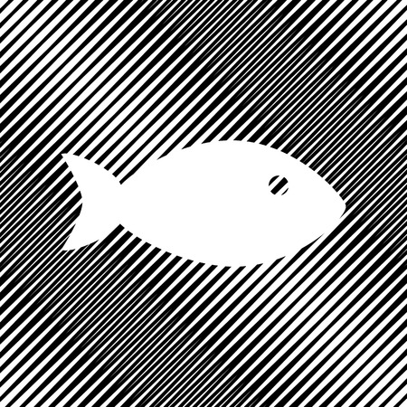 Fish sign illustration. Vector. Icon. Hole in moire background.
