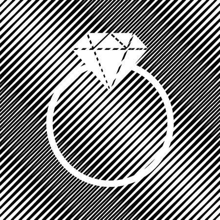 Diamond sign illustration. Vector. Icon. Hole in moire background.
