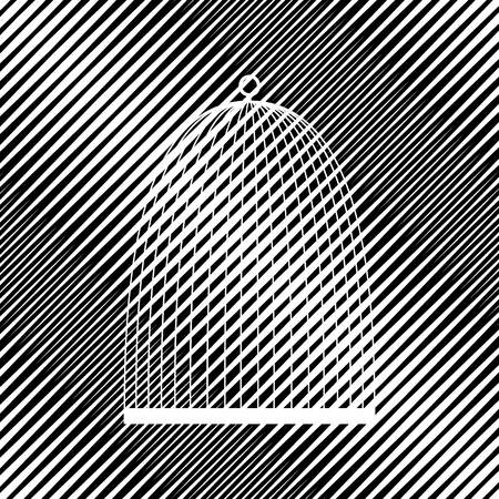 Bird cage sign. Vector. Icon. Hole in moire background.
