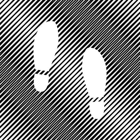 Impronta suole scarpe segno. Vettore. Icona. Buco sullo sfondo moiré