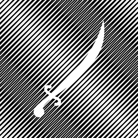Sword sign illustration. Vector. Icon. Hole in moire background. Vectores