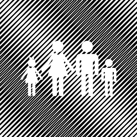 Family sign icon black and white Vector illustration. Hole in moire background. Vettoriali