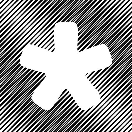 Asterisk star sign. Vector. Icon. Hole in moire background. Ilustração