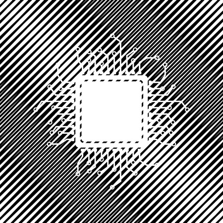 Microprocessor icon sign on black moire background.