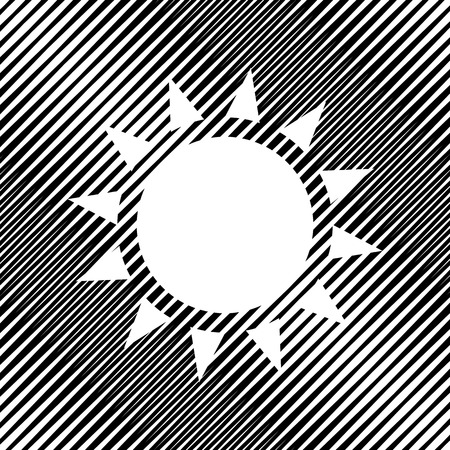 Sun icon sign on black moire background. Illustration