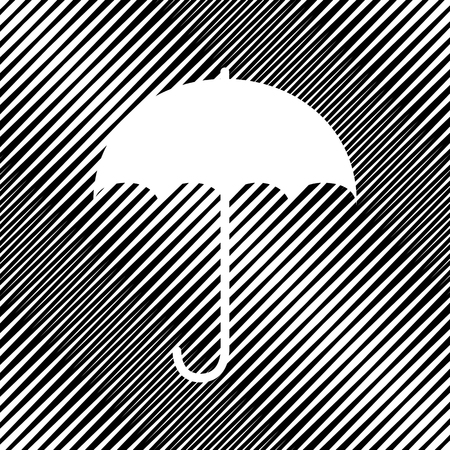 Umbrella sign icon sign on black moire background.