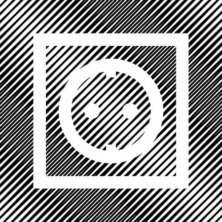 Electrical socket icon sign on black moire background. Illustration