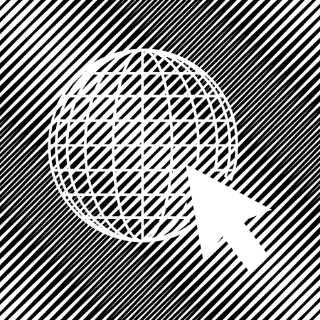 Earth Globe with cursor. Vector Icon.
