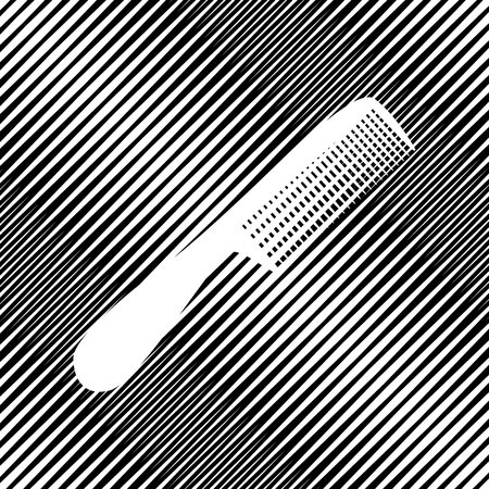 Comb simple sign. Vector. Icon. Hole in moire background.