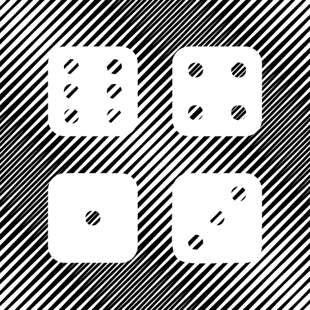Dices sign. Vector. Detachable paper with shadow at underlying layer with magenta-violet background.