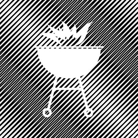 Barbecue with fire sign. Vector. Icon. Hole in moire background.