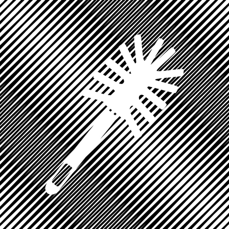Toilet brush doodle. Vector. Icon. Hole in moire background. Illustration