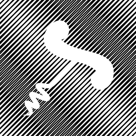 Corkscrew sign illustration. Vector. Icon. Hole in moire background.