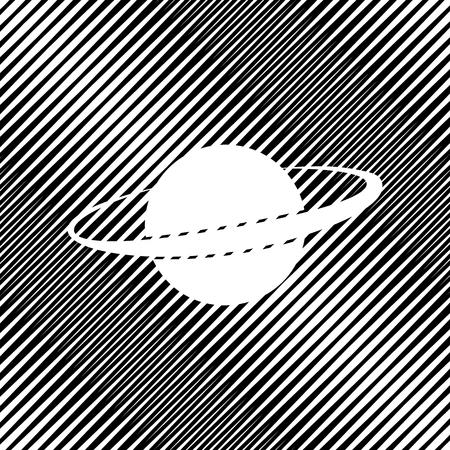Planet in space sign. Vector. Icon. Hole in moire background.