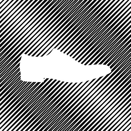 Men Shoes sign. Vector. Icon. Hole in moire background. Illustration