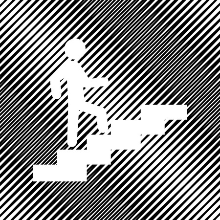 Man on Stairs going up. Vector. Icon. Hole in moire background. Vectores