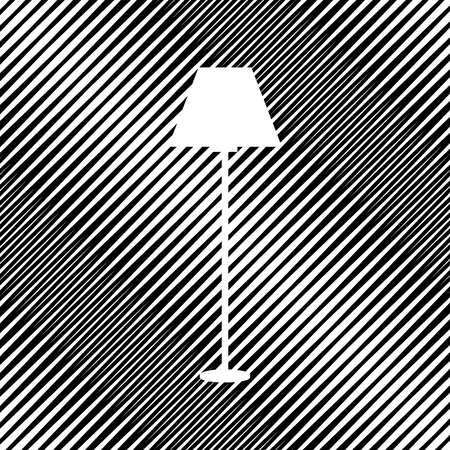 Lamp simple sign. Vector. Icon. Hole in moire background.