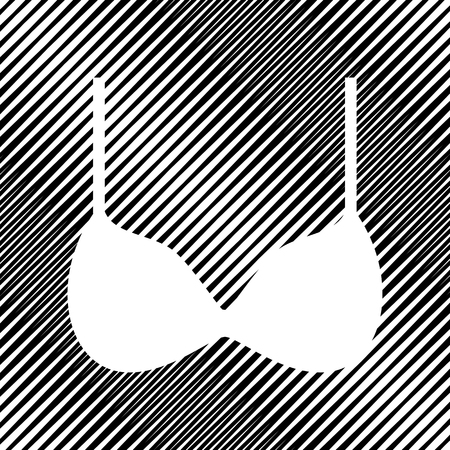 Bra simple sign. Vector. Icon. Hole in moire background. Vettoriali