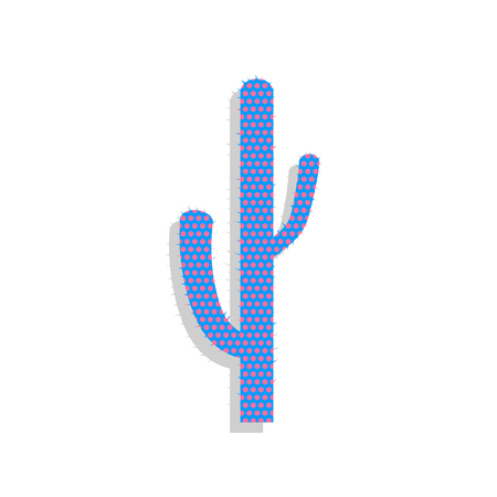 Cactus simple sign. Vector. Neon blue icon with cyclamen polka d Ilustração