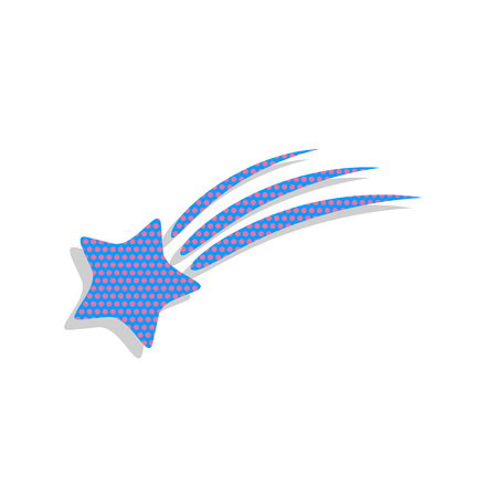 Meteor shower sign. Vector. Neon blue icon with cyclamen polka d