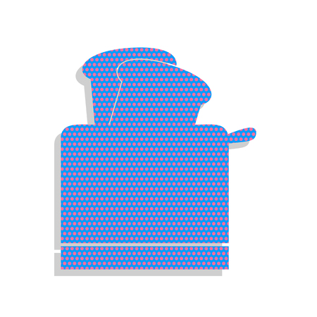 Toaster simple sign. Vector. Neon blue icon with cyclamen polka