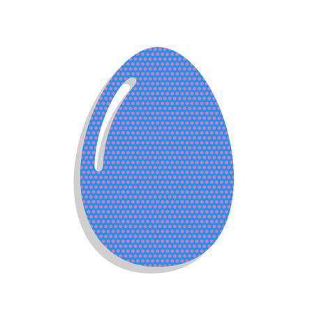 Chicken egg sign. Vector. Neon blue icon with cyclamen polka dot 일러스트