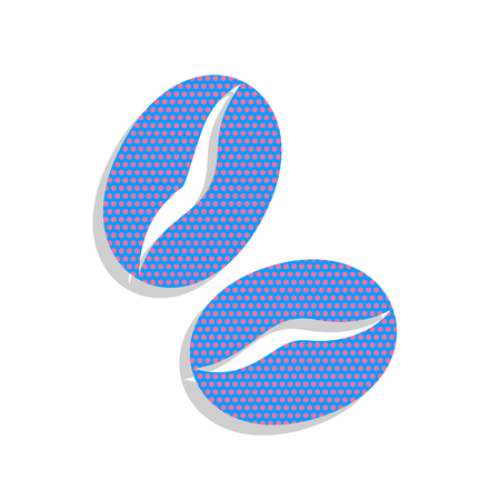 Coffee beans sign. Vector. Neon blue icon with cyclamen polka do