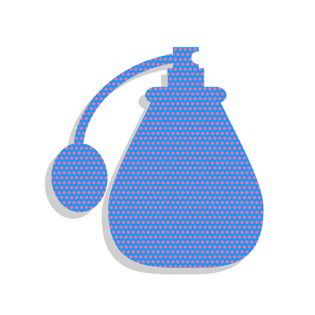 Perfume icon. Vector. Neon blue icon with cyclamen polka dots pa