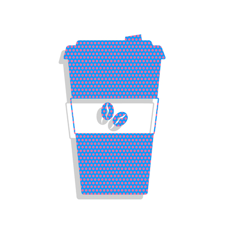 Coffee sign illustration. Vector. Neon blue icon with cyc Illustration