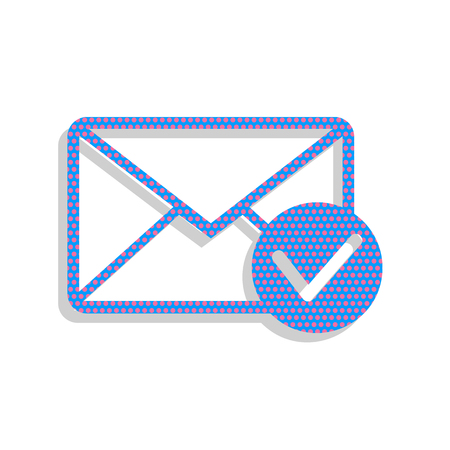 Mail sign illustration with allow mark. Vector. Neon blue icon w Zdjęcie Seryjne - 97537572