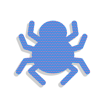 Spider sign illustration. Vector. Neon blue icon with cyclamen p Illustration