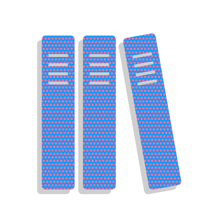 Row of binders, office folders icon. Vector. Neon blue icon with Illustration