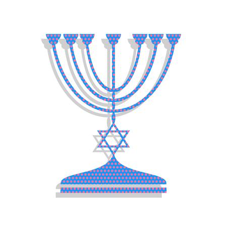 Jewish Menorah candlestick in black silhouette. Vector. Neon blu Ilustracja