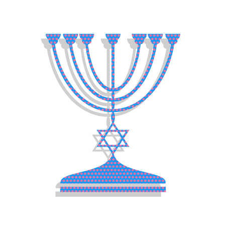 Jewish Menorah candlestick in black silhouette. Vector. Neon blu Illustration