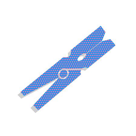Clothes peg sign. Vector. Neon blue icon with cyclamen polka dot
