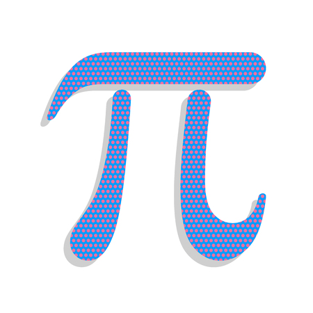 Pi greek letter sign. Vector. Neon blue icon with cyclamen polka